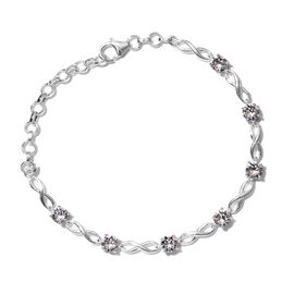 J Francis -Crystal from Swarovski  White Crystal (Rnd) Bracelet (Size 6.25 with 1.5 inch Extender) in Sterling Silver, Silver wt 6.30 Gms