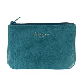 Assots London POPPY Full Grain Leather Zip Top Coin Purse (Size 12x8cm) - Blue