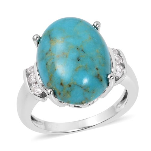 Anhui Turquoise (Ovl 16x12 mm), Natural White Cambodian Zircon Ring in Rhodium Overlay Sterling Silver 7.02 Ct