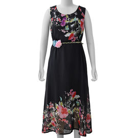 Black Colour Plum Blossom Flower Pattern One Piece Dress