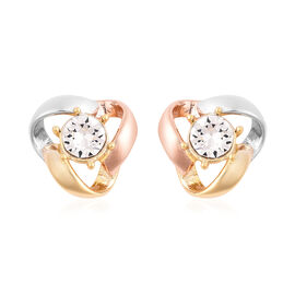 J Francis Crystal from Swarovski White Crystal (Rnd) Stud Earrings (with Push Back) in Tri Tone Over
