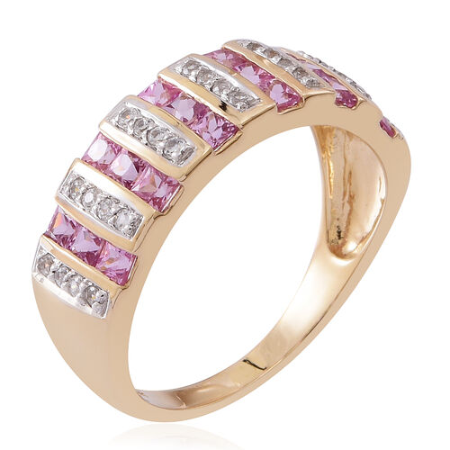 9K Yellow Gold AA Pink Sapphire (Sqr), Natural White Cambodian Zircon Ring 2.250 Ct. Pink Sapphire 2.00 Ct.