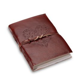 Heart Embossed Leather  Notebook with Strap (Size 17.78x12.7 Cm)