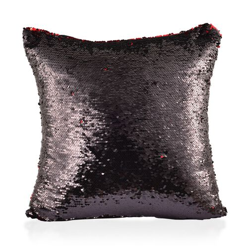 Set Of 2 - Two Tone Cushion Colour Change Red and Black Cover with Sequins at Frontside (Size 40X40 Cm)
