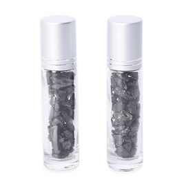 Set of 2 - Shungite Filled Roll-on Perfume or Essential Oil Bottles with Burmese Jade Roller Bead (S