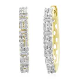 9K Yellow Gold SGL Certified Diamond (Bgt and Rnd) (I3/G-H) Earrings (with Clasp Lock) 0.330 Ct.