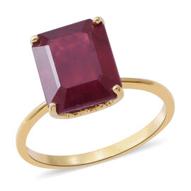 9K Yellow Gold AAA African Ruby (Oct) Solitaire Ring 9.000 Ct.