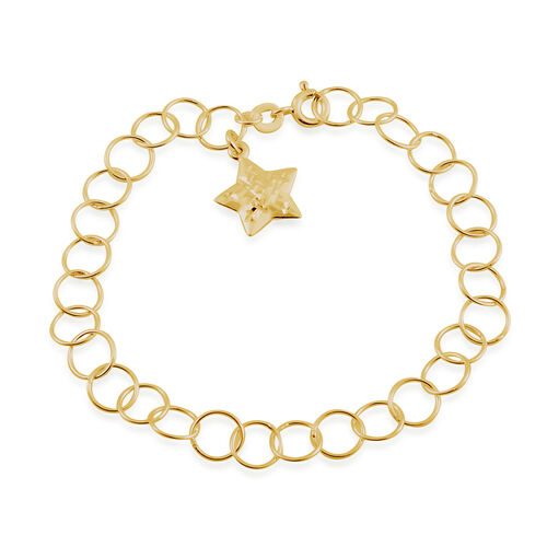 Yellow Gold Overlay Sterling Silver Round Link Bracelet (Size 7.5) with Star Charm
