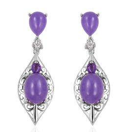 Purple Jade (Ovl 9.75 Ct), Amethyst and Natural White Cambodian Zircon Earrings (with Push Back) in Rhodium Overlay Sterling Silver 10.125 Ct, Silver wt 8.30 Gms.