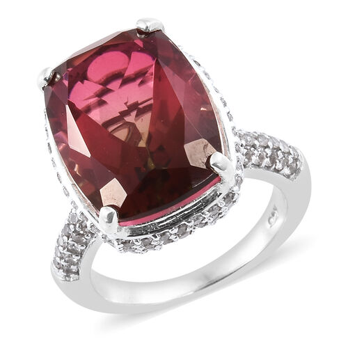 Finch Quartz (Cush 11.00 Ct), Brown Zircon Ring in Platinum Overlay Sterling Silver 13.000 Ct, Numbe