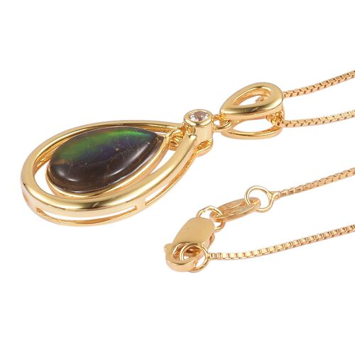 Canadian Ammolite (Pear 12x8mm), Natural White Cambodian Zircon Pendant with Chain in Yellow Gold Overlay Sterling Silver 2.530 Ct.