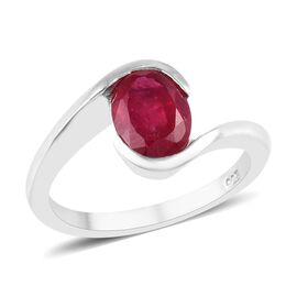 Fissure Filled Ruby (1.28 Ct) Platinum Overlay Sterling Silver Ring  1.275  Ct.