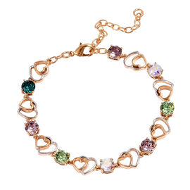 J Francis  - Crystal from Swarovski Multi Colour Crystal (Rnd) Adjustable Heart Bracelet (Size 7.5 with 2 inch Extender) in Gold Plated