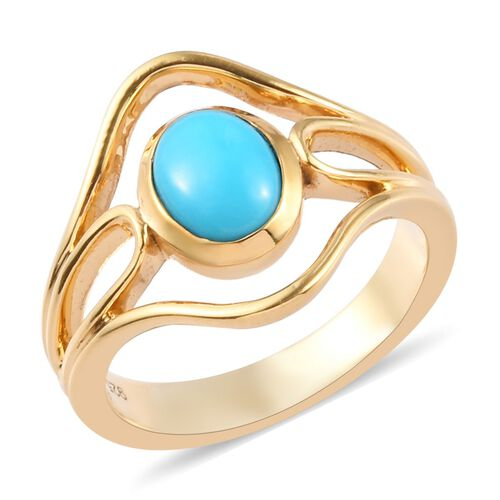 Arizona Sleeping Beauty Turquoise Ring in 14K Gold Overlay Sterling Silver 1.06 Ct.