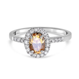 Champagne and White Moissanite Ring in Rhodium Overlay Sterling Silver Ring