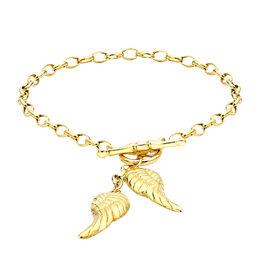9K Yellow Gold T-Bar Angel Wing Charm Bracelet (Size 7)