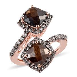 Zawadi Golden Sheen Sapphire (Cush 7x7 mm), Brown Zircon Bypass Ring in 18K Rose Gold Vermeil and Bl