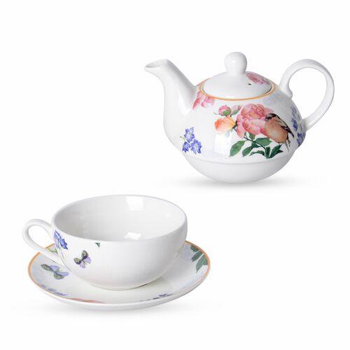 Set of 3 - Multi Colour with Bird Pattern Porcelain Tea Set (1 Pot, 1 Mug and 1 Saucer)