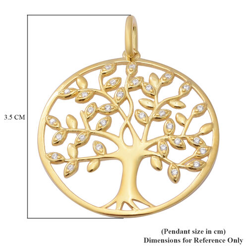 ELANZA AAA Simulated Diamond Tree-of-Life Pendant in Yellow Gold Overlay Sterling Silver