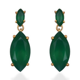5.64 Ct Verde Onyx and Natural Cambodian Zircon Drop Earrings in Gold Plated Sterling Silver