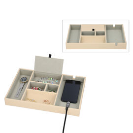 Mens 6 Section Portable Jewellery Organiser (Size 35x24x4Cm) - Beige