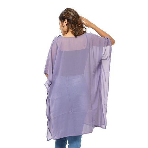 Crystal-Embellished V-Neck Kaftan Top (One Size; L-90cm, W-74cm) - Purple