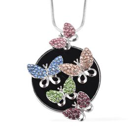 Multicolour Austrian Crystal (Rnd) Butterfly Family Pendant with Chain in Silver Tone
