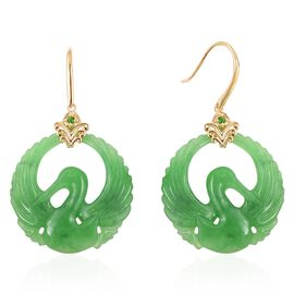 Carved Green Jade, Russian Diopside Crane Design Hook Earrings in Vermil Yellow Gold Overlay Sterling Silver 50.580 Ct