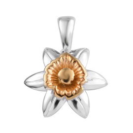 Platinum and Yellow Gold Overlay Sterling Silver Floral Pendant, Silver wt 3.40 Gms