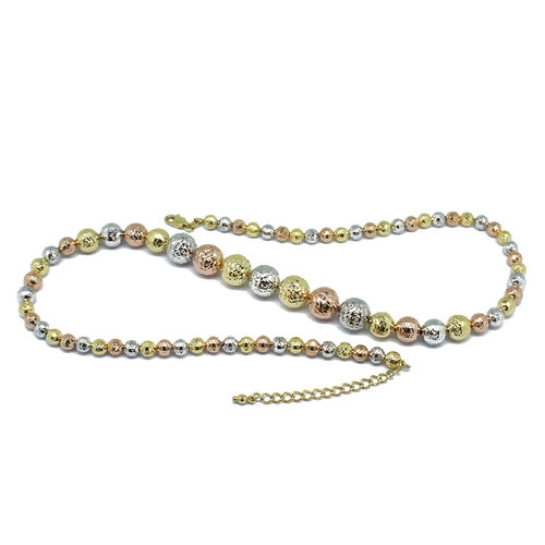 Designer Inspired-9K Yellow, White and Rose Gold Diamond Cut Ball Necklace (Size 18 with 2 inch Extender), Gold wt 16.63 Gms.