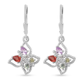 Rainbow Sapphire and Natural Cambodian Zircon Lever Back Earrings in Platinum Overlay Sterling Silve