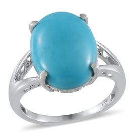 Arizona Sleeping Beauty Turquoise (Ovl) Solitaire Ring (Size Q) in Platinum Overlay Sterling Silver 6.750 Ct.