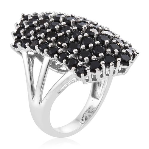 Boi Ploi Black Spinel (Rnd) Cluster Ring in Platinum Overlay Sterling Silver 8.000 Ct. Silver wt. 8.10 Gms.