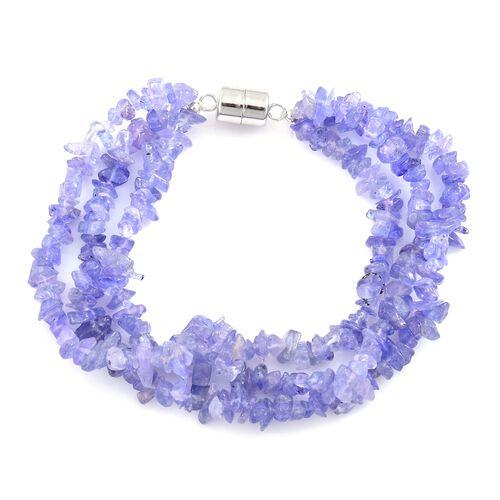 Tanzanite Triple Strand Bracelet (Size 7) in Rhodium Overlay Sterling Silver 104.000 Ct.