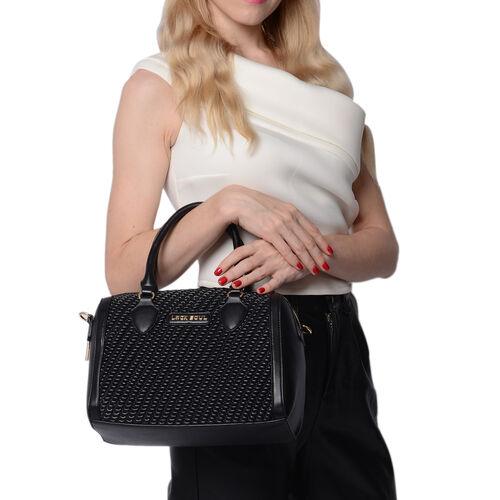 LOCK SOUL Black Colour Corn Grain Textured Satchel Bag with Detachable Shoulder Strap (Size 28x15x21