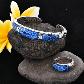 Royal Bali Collection - 2 Piece Set - Blue Coral Studded Ring and Cuff Bangle (Size 7.25) in Sterling Silver, Silver wt 29.80 Gms