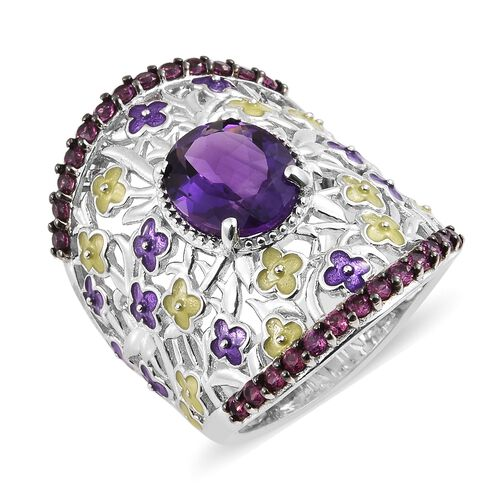 GP Amethyst (Ovl 4.00 Ct), Rhodolite Garnet and Kanchanaburi Blue Sapphire Ring in Platinum Overlay Sterling Silver 5.000 Ct. Silver wt 14.26 Gms.