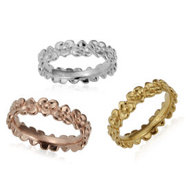 Set of 3 Floral Band Ring in Yellow and Rose Gold Plated Sterling Silver 9 Grams