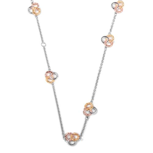TJC Launch - RACHEL GALLEY Rhodium, Rose and Yellow Gold Overlay Sterling Silver Necklace (Size 30), Silver wt: 12.30 Gms.