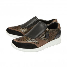 DOD - Lotus Black Leather & Leopard Sian Casual Trainers