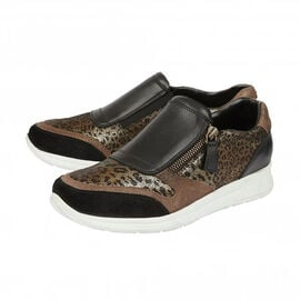 DOD - Lotus Black Leather & Leopard Sian Casual Trainers (Size 5)