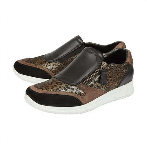 Lotus Black Leather & Leopard Sian Casual Trainers (Size 4)