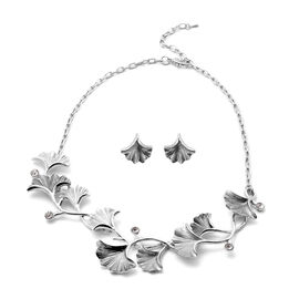 2 Piece Set - White Austrian Crystal Enamelled Necklace (Size 20 with 2 inch Extender) and Earrings