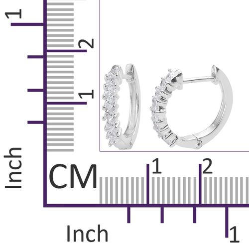 J Francis - Sterling Silver (Mrq) Hoop Earrings (with Clasp Lock) Made with SWAROVSKI ZIRCONIA