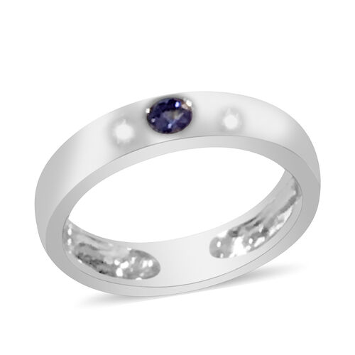 Tanzanite Solitaire Band Ring in Rhodium Plated Sterling Silver 0.12 Ct