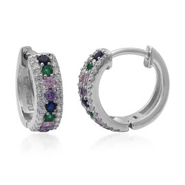 ELANZA Simulated Rainbow Sapphire and Simulated Diamond Hoop Earrings in Rhodium Plated Silver