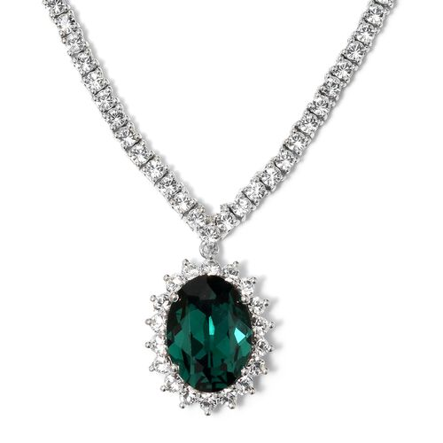 J Francis Crystal from Swarovski- Emerald Green Crystal (Ovl), White Crystal Necklace with Chain (Si