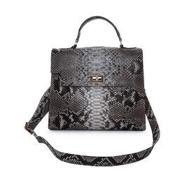 LA MAREY 100% Genuine Python Leather Satchel Bag with Detachable Shoulder Strap (Size 30x25x13cm) - Beige & Multi