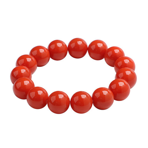 2 Piece Set - Living Coral Colour Shell Pearl Beaded Stretchable Bracelet (Size 7) and Earrings (with Push Back) in Rhodium Overlay Sterling Silver