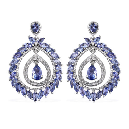 Tanzanite (Pear), Natural Cambodian Zircon Earrings (With Push Back) in Platinum Overlay Sterling Si